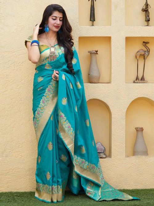 Blue Designer Banarasi Silk Saree For Wedding