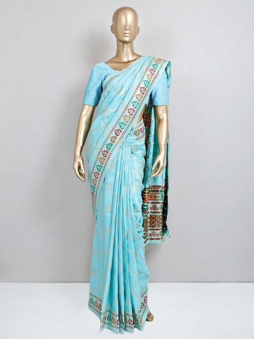 Blue Dola Silk Festival Saree Design