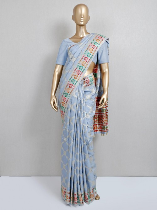 Blue Dola Silk Wedding Saree