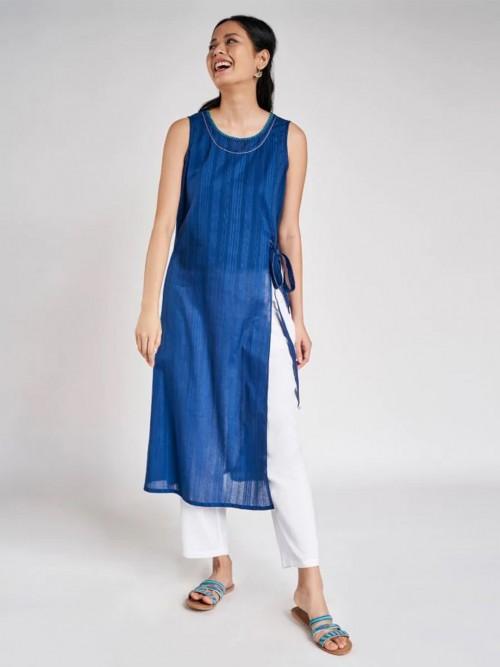 Blue Festive Wear Cotton Kurti For Women
