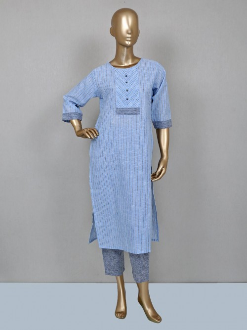 Blue Palazzo Suit In Cotton Fabric
