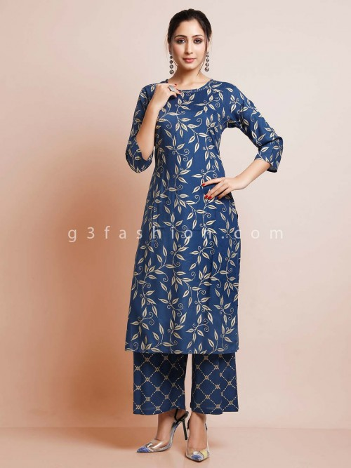 Blue Printed Cotton Pant Suit For Women