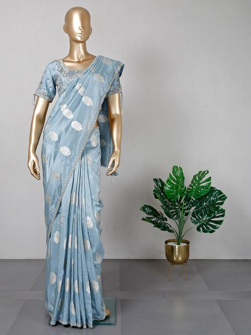 Blue Pure Silk Festive Wear Saree