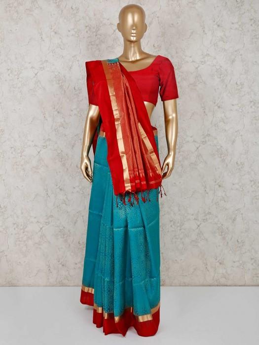 Blue Pure South Silk Saree In Festive