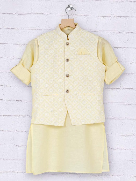 Boys Light Yellow Cotton Waistcoat Set