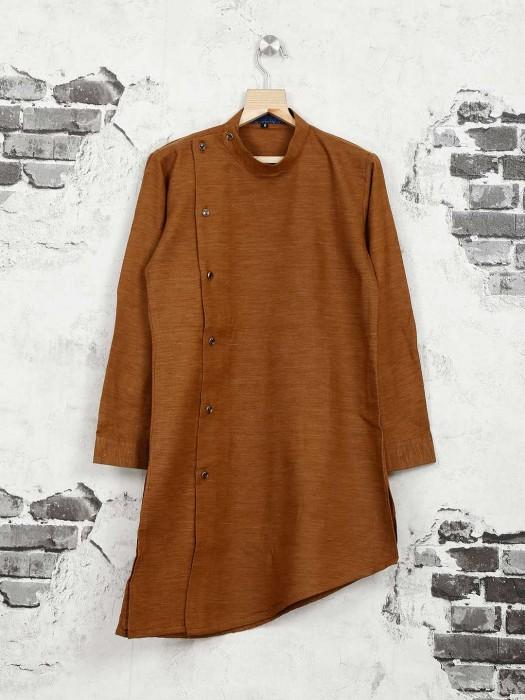 Brown Cotton Silk Festive Kurta Suit
