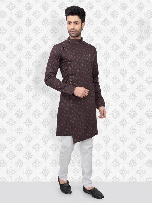 Brown Printed Cotton Bandhgala Kurta Suit