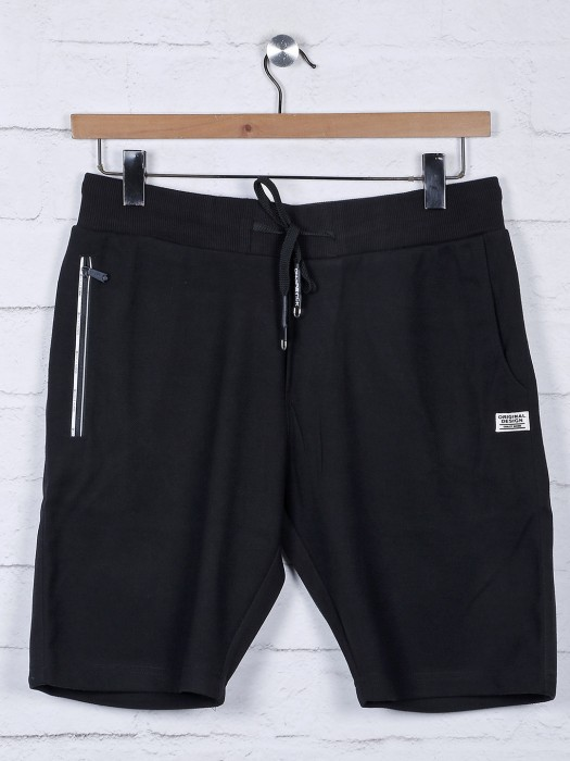 Chopstick Black Solid Cotton Regular Shorts