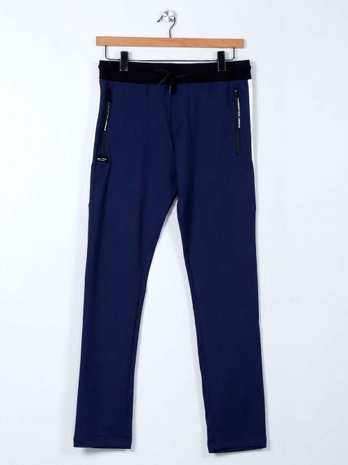 Chopstick Blue Cotton Solid Mens Track Pant