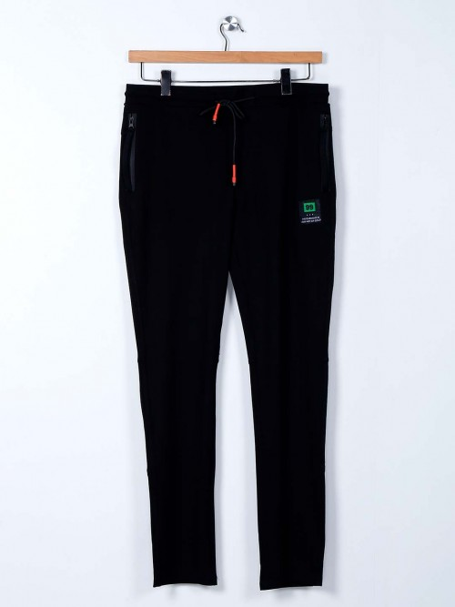 Cookyss Black Narrow Fit Cotton Track Pant