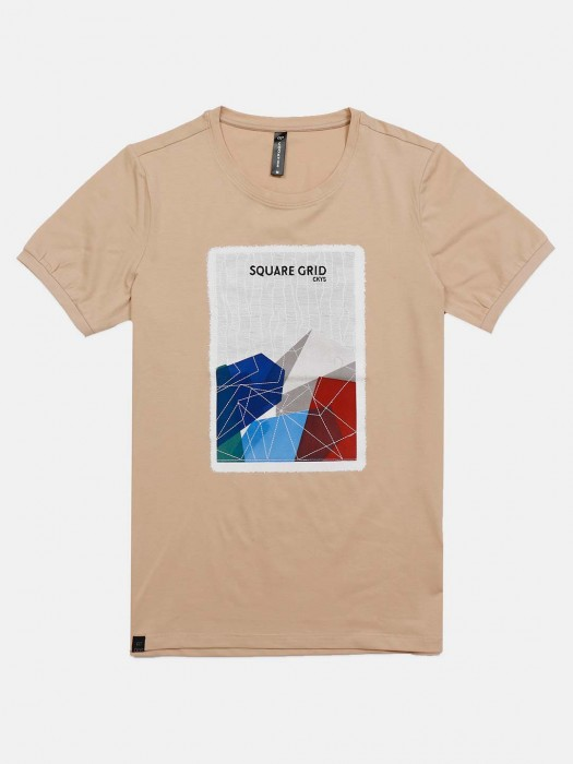 Cookyss Cotton Beige Printed T-shirt