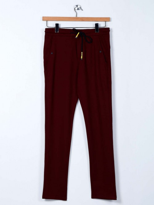 Cookyss Maroon Cotton Printed Track Pant