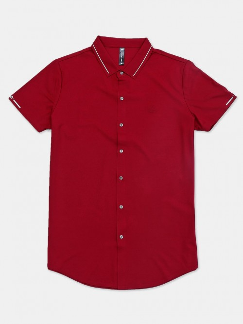 Cookyss Maroon Solid Shirt In Cotton