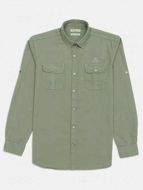 Copper Stone Grey Solid Cotton Shirt For Mens