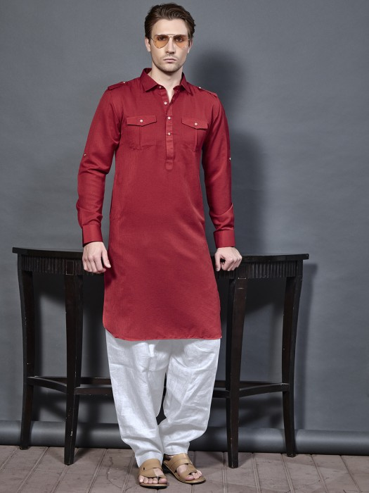 Cotton Fabric Maroon Color Pathani Suit