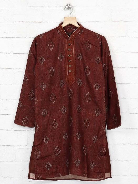 Cotton Maroon Hue Simple Kurta Suit