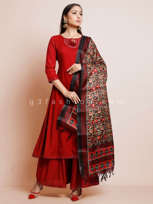 Cotton Maroon Palazzo Suit With Kalamkari Dupatta