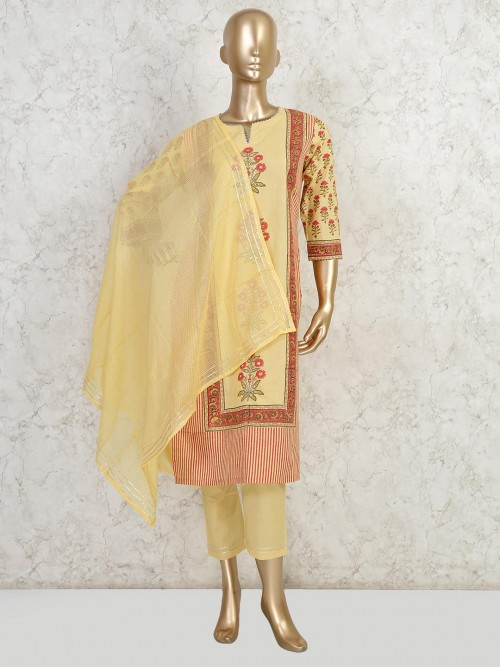 Cotton Salwar Suit In The Yellow Color