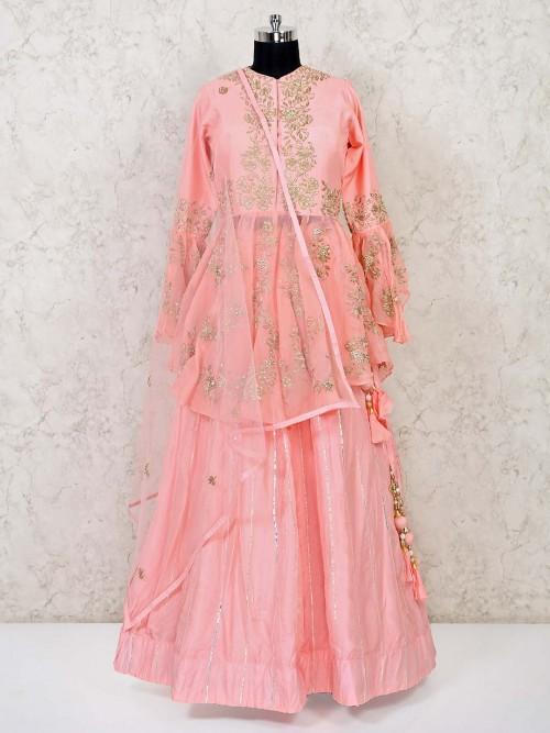 Cotton Silk Latest Peach Jacket Style Wedding Lehenga Choli
