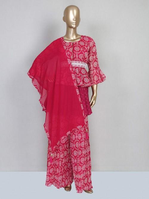 Cotton Silk Magenta Punjabi Festive Wear Sharara Suit