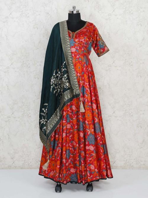 Cotton Silk Maroon Floor Length Printed Anarkali Suit