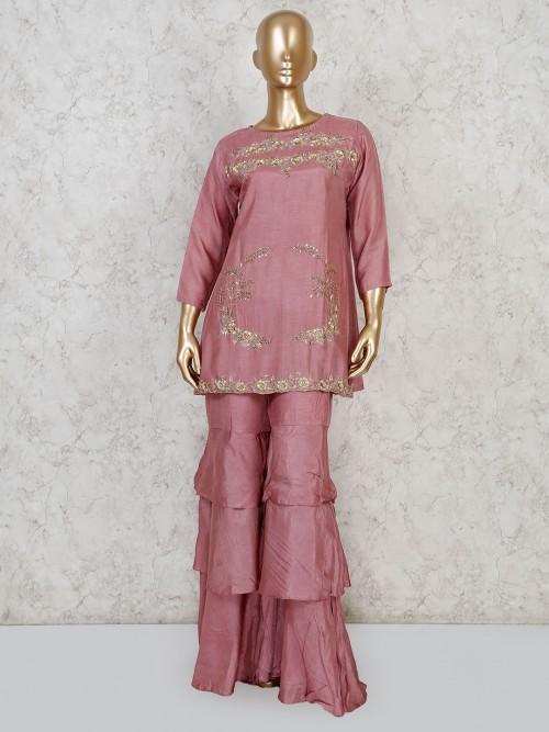 Cotton Silk Pink Punjabi Sharara Suit