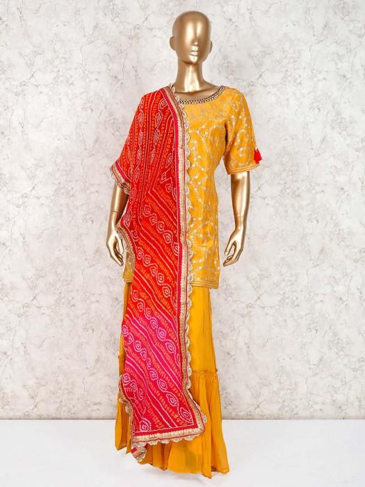 Cotton Silk Yellow Designer Punjabi Sharara Dress