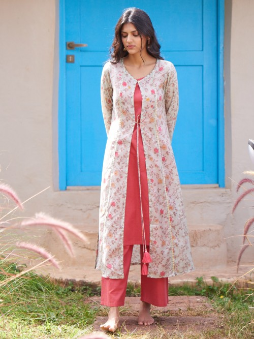 Cream And Red Jacket Style Kurta Set With Pants In Cotton