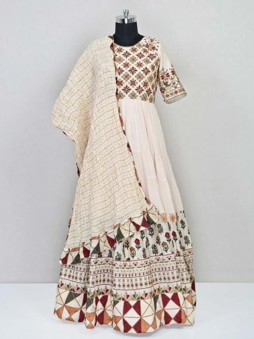 Cream Floor Length Anarkali Suit For Party
