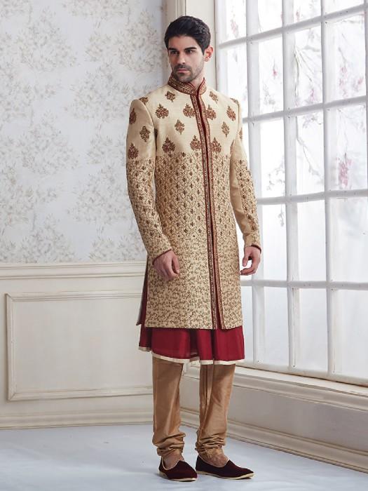Cream Maroon Wedding Wear Sherwani In Silk Fabric
