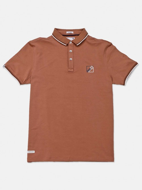 Crossknit Solid Brown Polo T-shirt