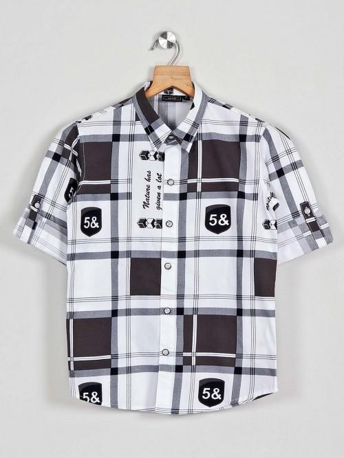 Danaboi White Checks Pattern Boys Casual Shirt