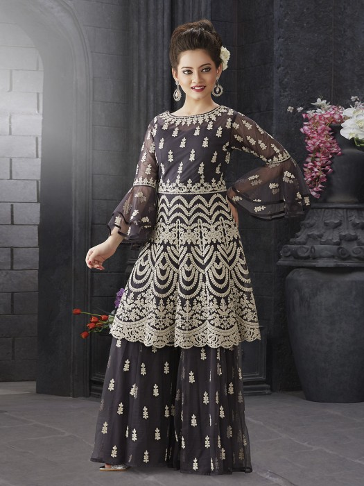 Dark Grey Net Wedding Punjabi Sharara Suit