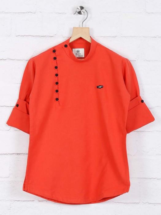Dark Orange Hued Wedding Wear Short Kurta