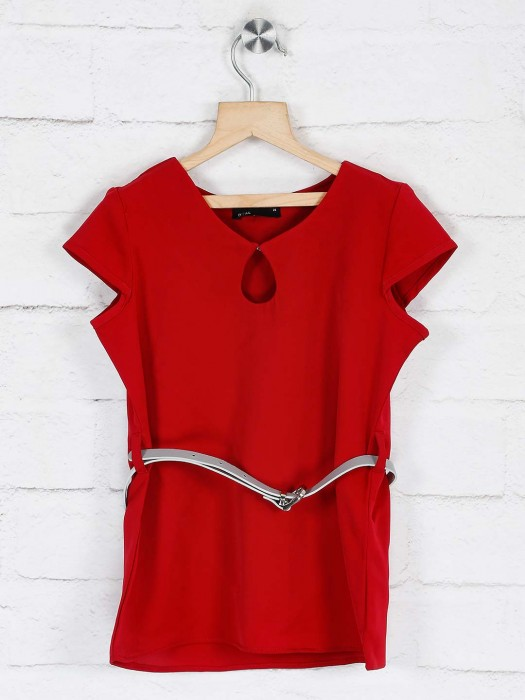 Deal Red Solid Cotton Girls Top