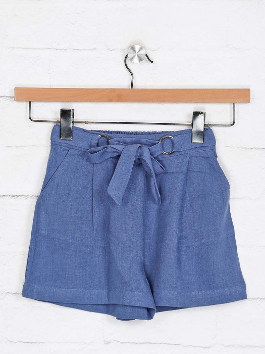 Deal Solid Blue Cotton Shorts
