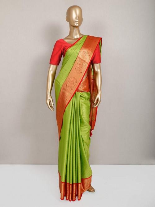 Designer Green Semi Silk Saree For Festive