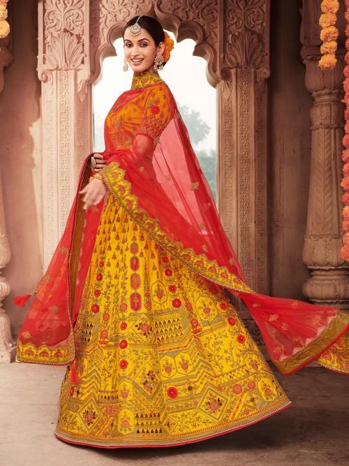 Designer Yellow Semi Stitched Bridal Lehenga Choli For Wedding