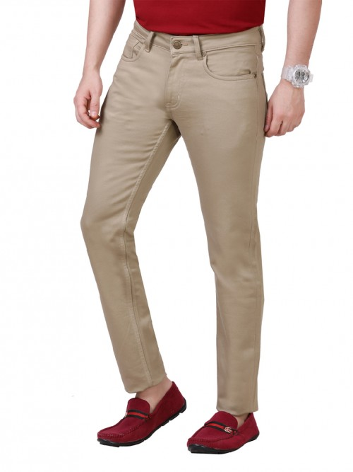 Dragon Hill Beige Solid Casual Slim Fit Jeans