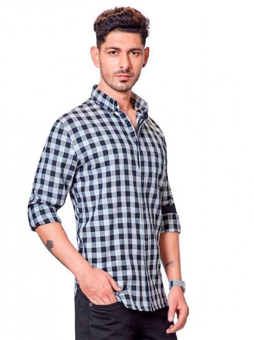 Dragon Hill Casual Wear Dark Blue Checks Shirt