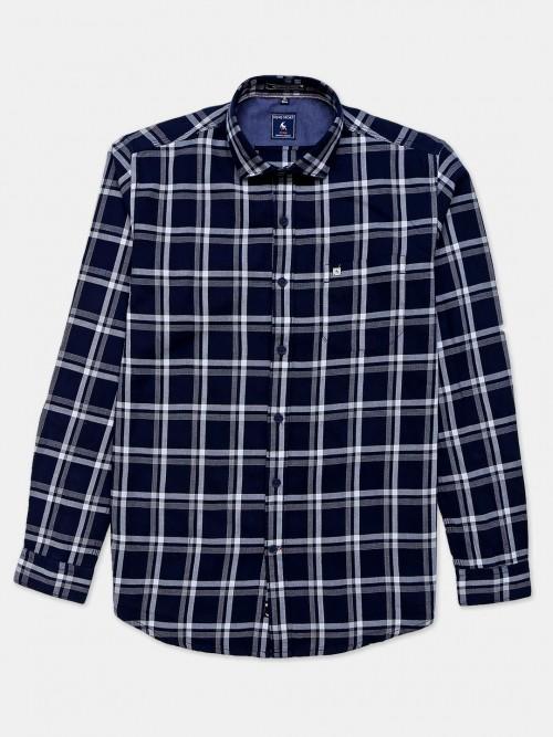 Eqiq Navy Checks Casual Shirt For Mens