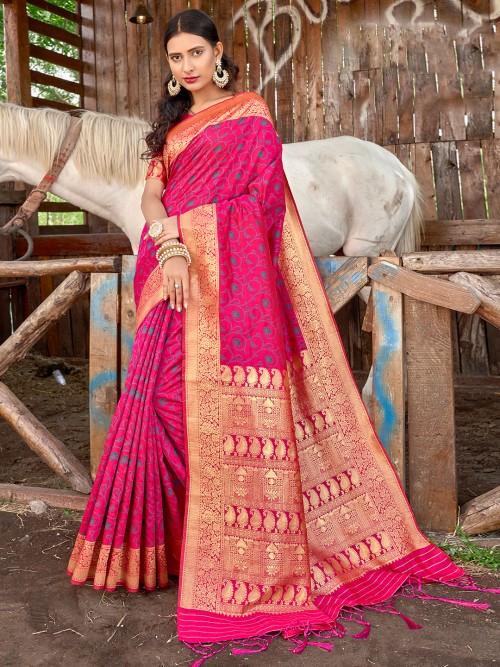 Exclusive Magenta Printed Banarasi Silk Saree For Wedding