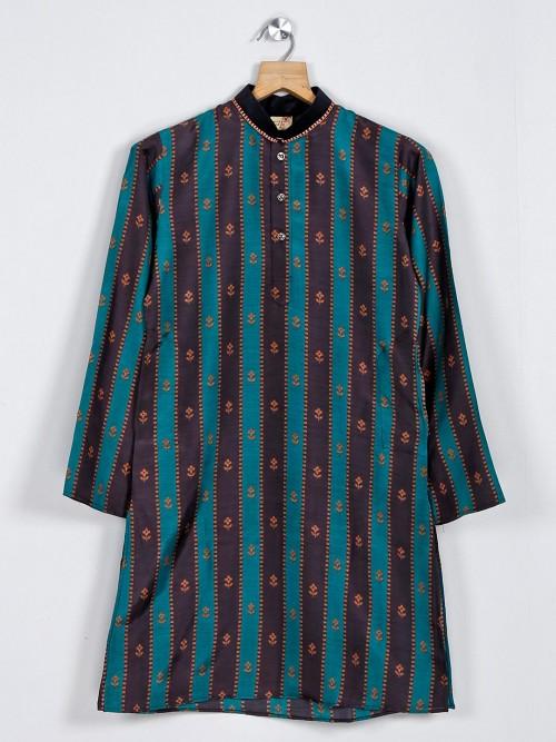 Festive Function Green Cotton Kurta Suit