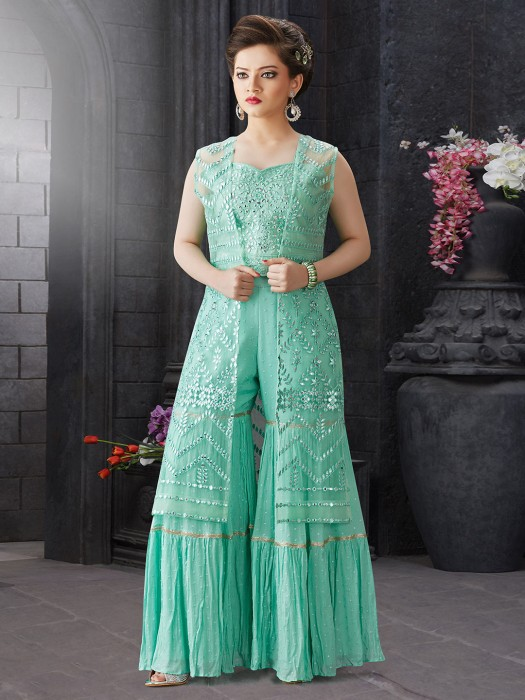Festive Wear Aqua Green Hue Geogette Sharara Suit