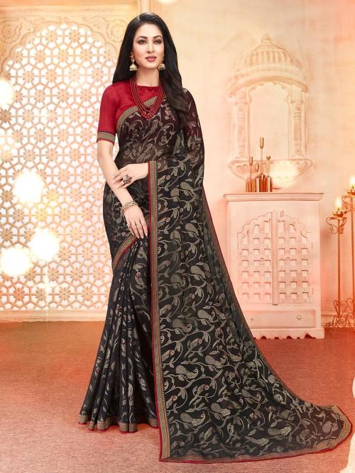 Festive Wear Georgette Saree In Black