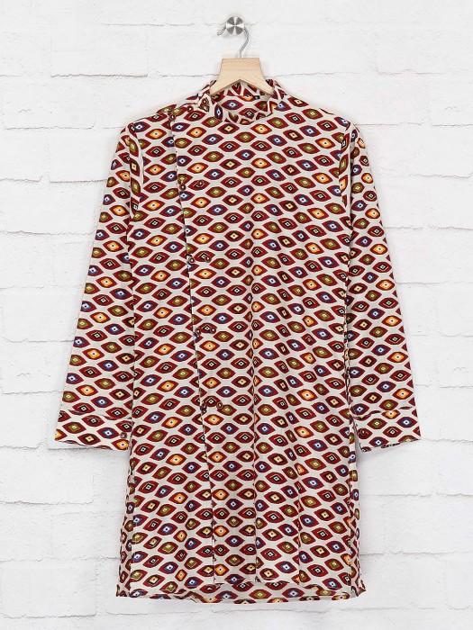 Festive Wear Maroon Printed Cotton Kurta Suit