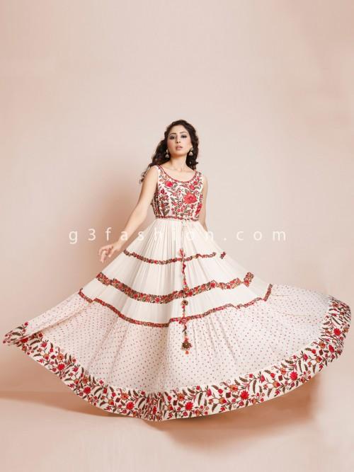 Floor Length Wedding Wear Anarkali In Cream