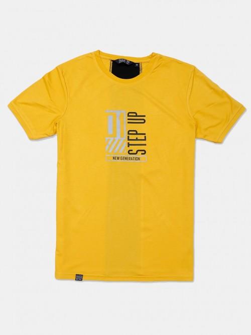 Freeze Half Sleeves Yellow Printed T-shirt