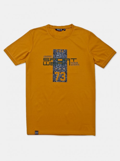 Freeze Mustard Yellow Printed Cotton Casual T-shirt