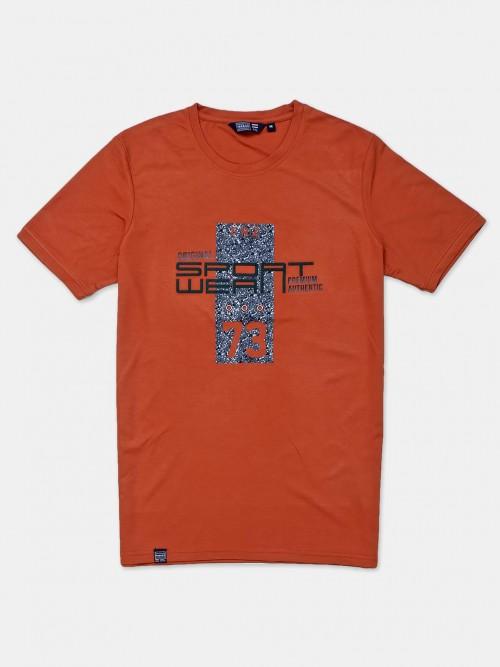 Freeze Rust Orange Printed Cotton Mens T-shirt